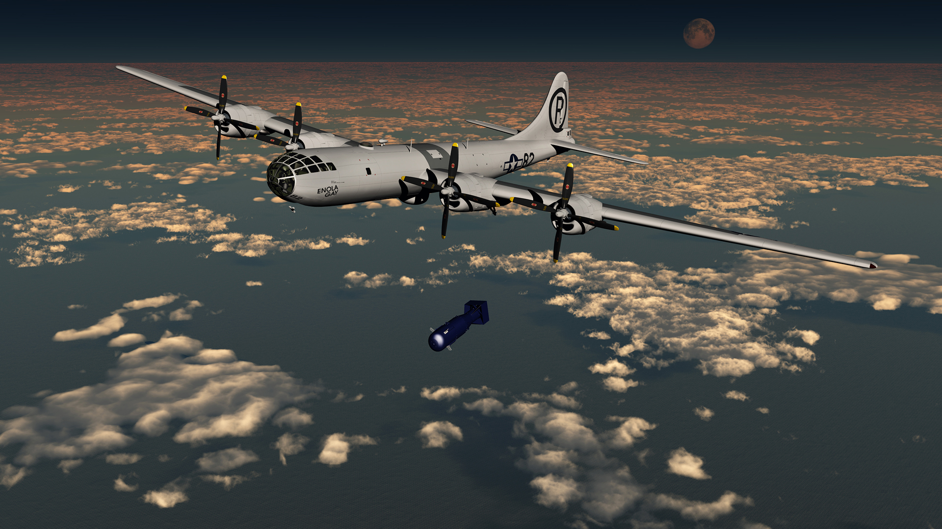 Enola Gay drops the world's first atom bomb, over the city of Hiroshima